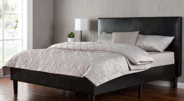 Deluxe Faux Leather Upholstered Platform Bed with Wooden Slats