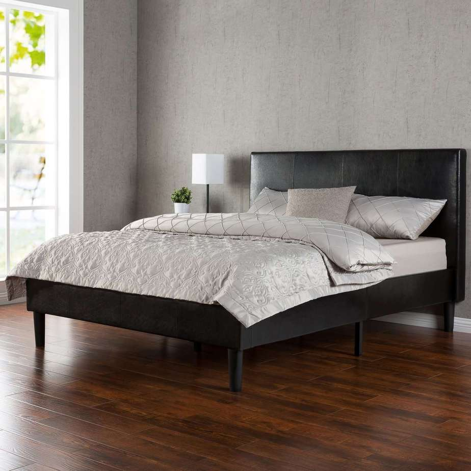 Mattress for platform bed with slats - Deluxe Faux Leather Upholstered Platform Bed With Wooden Slats