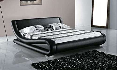 Greatime Modern Upholstered Bed Black