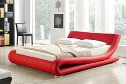 Greatime Modern Upholstered Bed Red
