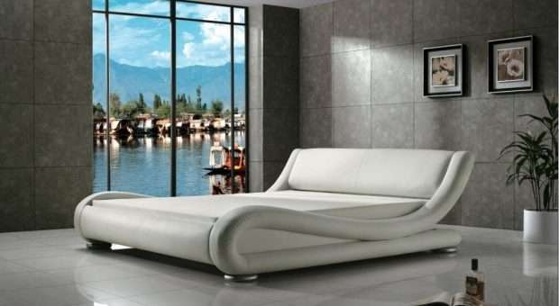 Greatime Modern Upholstered Bed White