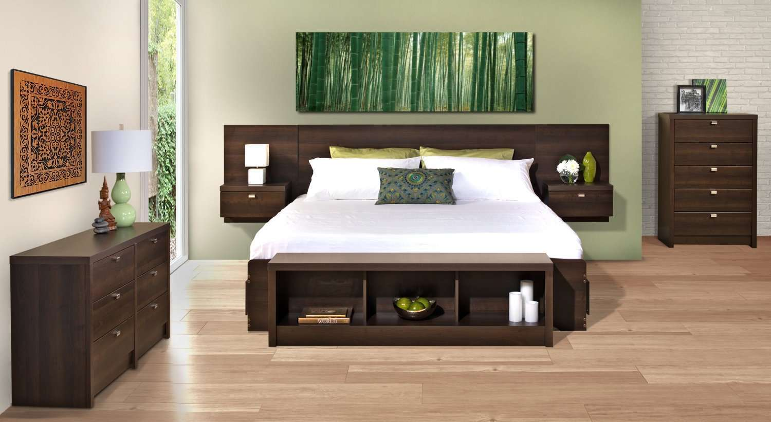 Prepac Designer Bed Floating Headboard with Nightstands   Bed